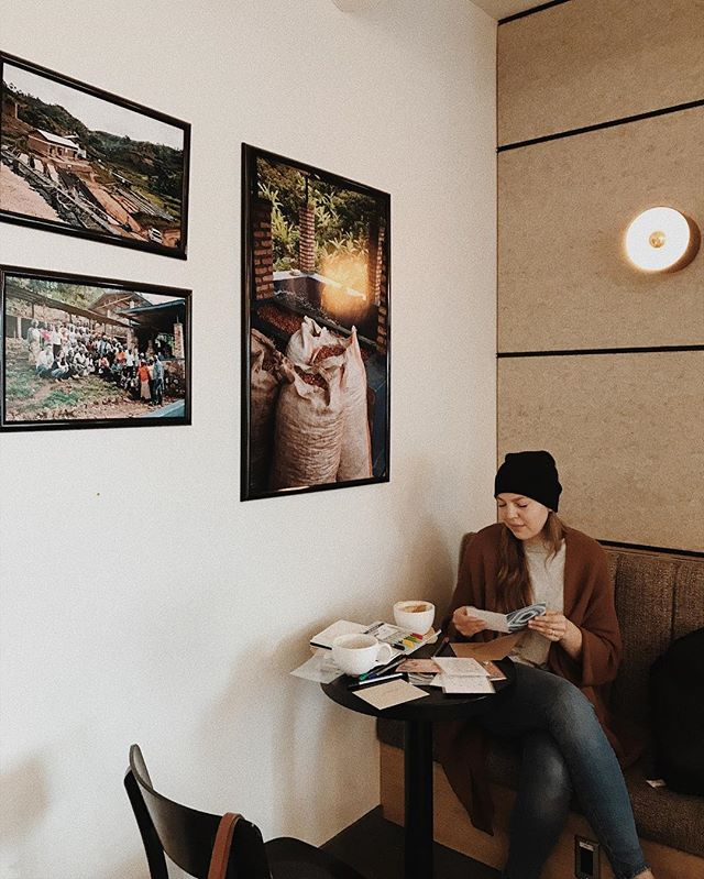 """While planning #thewildkin, we were used to seeing each other once a week, if not more, so seeing each other today two weeks after the workshop ended, it's felt like forever since we've met up at our favourite place ☕️ We're spending this rainy Calgary morning writing """"thank yous"""" to all of our favourite people."""