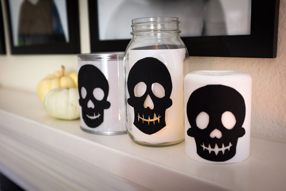STEP 3: Adhere black skull cutout onto container. Insert tea light. Marvel at your own craftiness.
