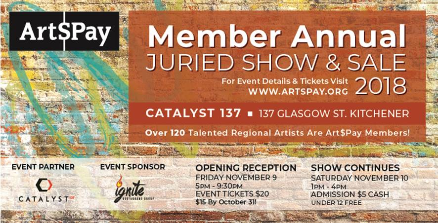 Art$Pay Member Annual Juried Show & Sale 2018 - Opening Reception Friday, November 9, 2018 5:00 pm - 9:30 pmShow Continues Saturday, November 9, 2018 1:00 pm - 4:00 pm