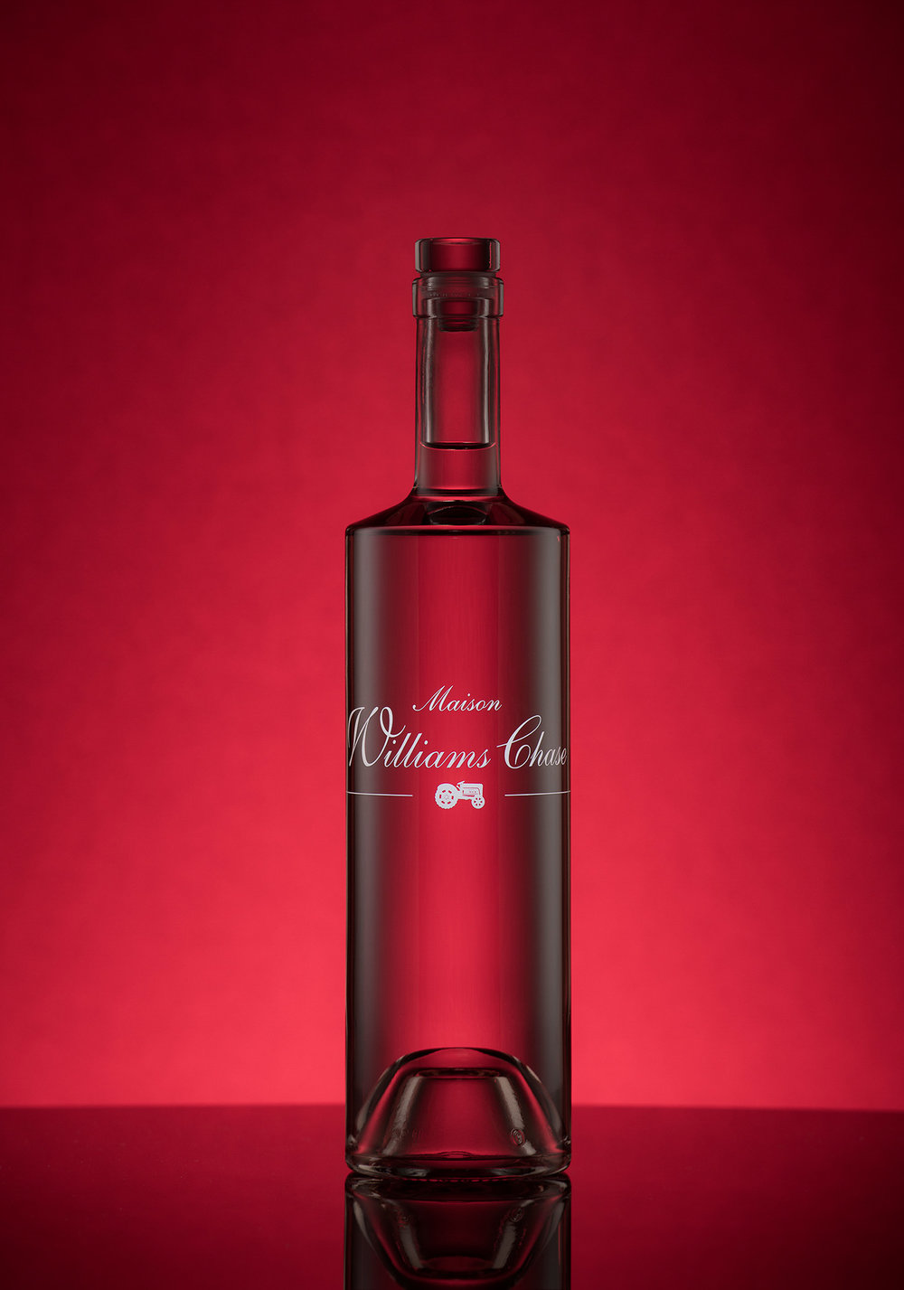 Williams Chase bottle product photograph with reflections