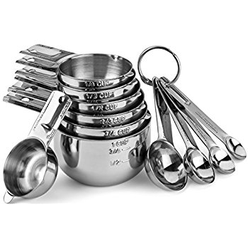 Measuring cups and spoons are most useful for liquids or foods usually measured by volume.