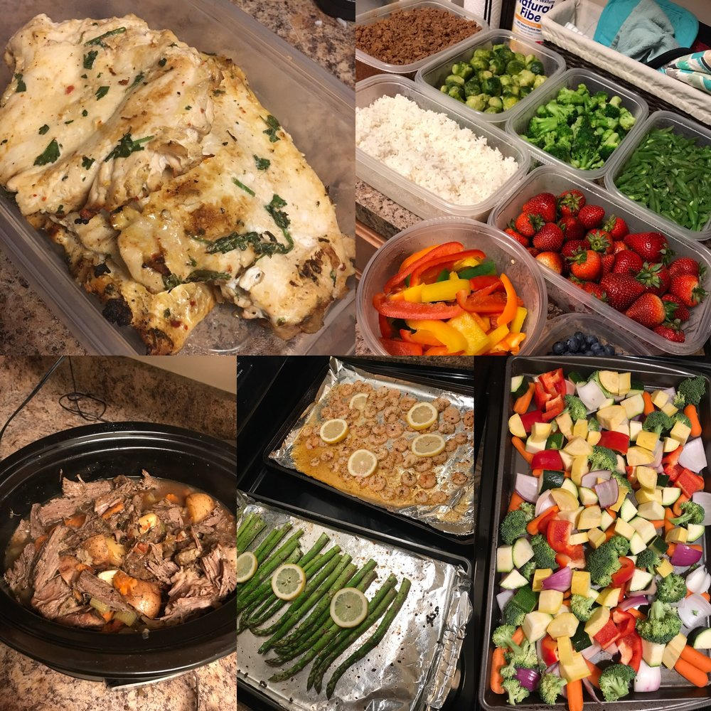 Bulk prep foods using recipes or go buffet style to mix and match/create your own dishes.