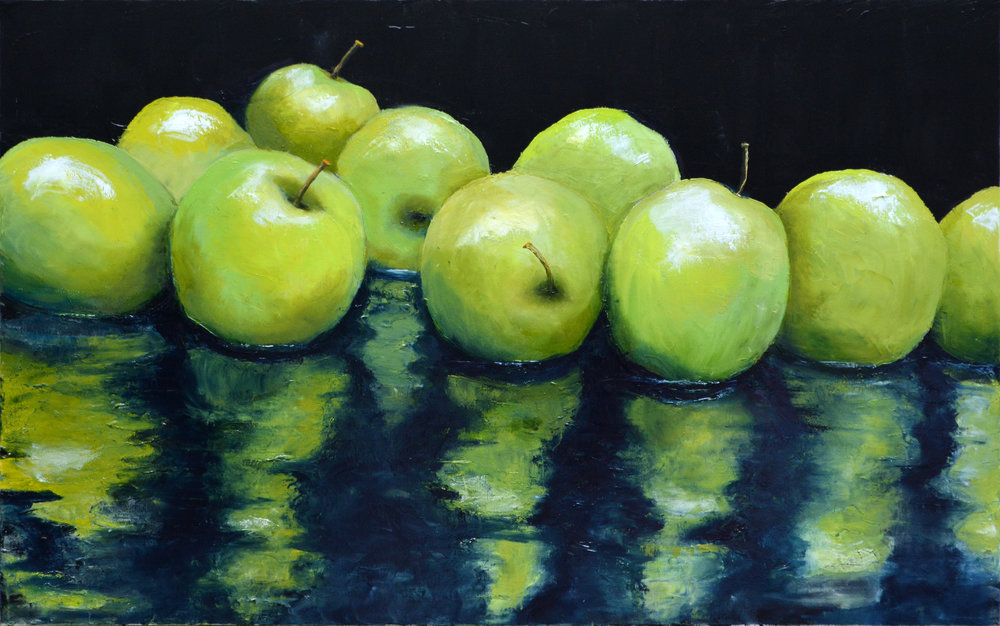 GRANNY SMITHS  OIL ON CANVAS  48 X 30  $2,000.