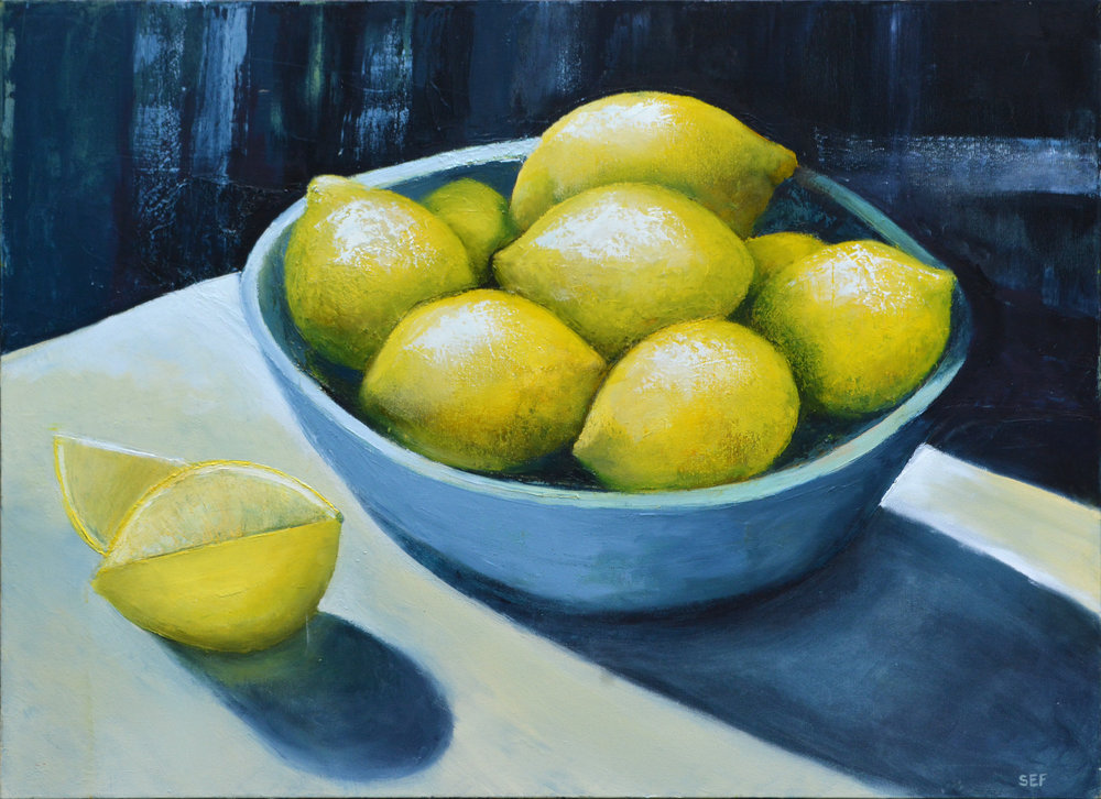 LEMONS IN A BLUE BOWL  OIL ON CANVAS  40 X 30  $1,600.