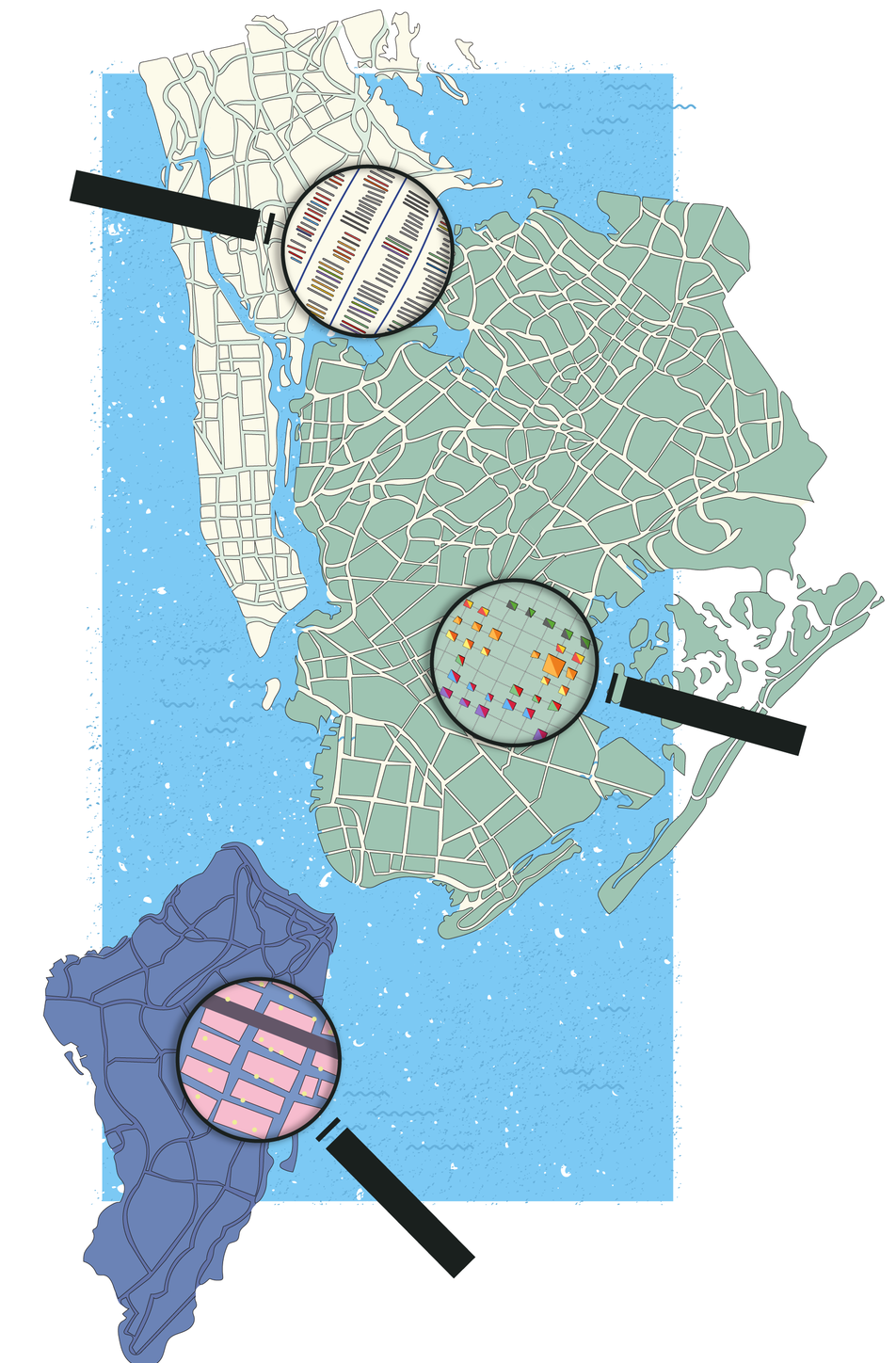 Map of New York city with three magnifying glasses. The glasses show a more detailed view of the map. They are showing different types of businesses and functions found across the city.
