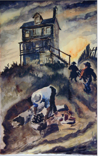 Henry Lisi,  Hill Scene,  watercolor, 21.5 x 13.25 in., acquired 1947, Friends of Art Collection for Pittsburgh Public Schools