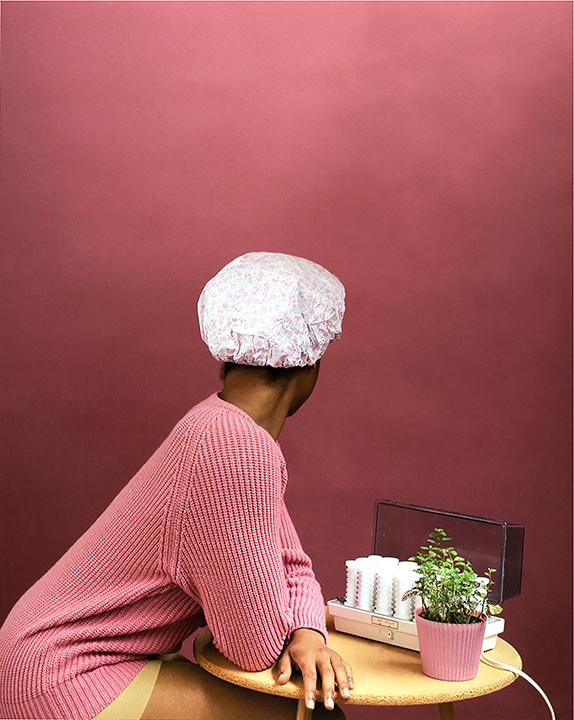 Nakeya Brown,  Self Portrait in Shower Cap Gestures of my Bio-Myth