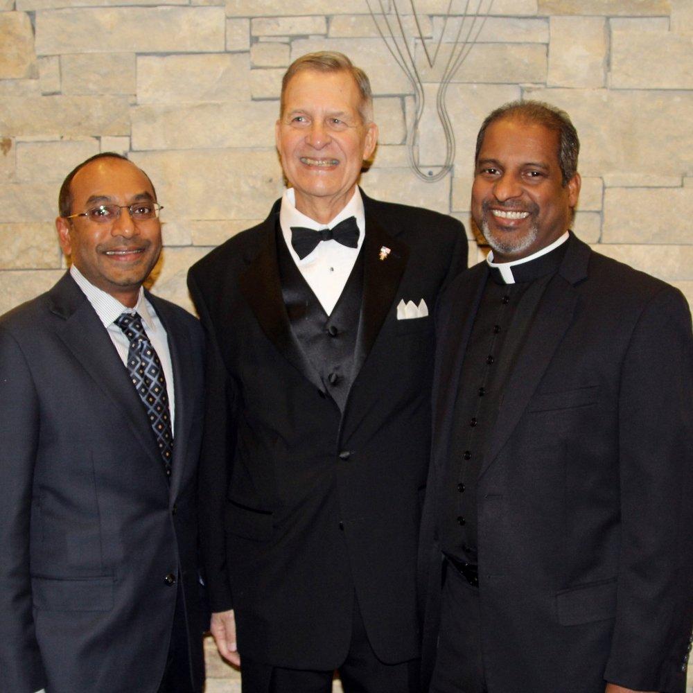 Dr. Kiran Kurichety, Jim Pomeroy and Fr. Lawrence Chellaian