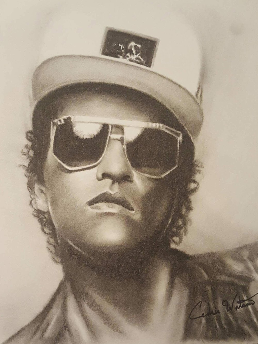 Cedric was inspired to create this charcoal drawing of Bruno Mars because he is such an inspiration to so many in the music industry.