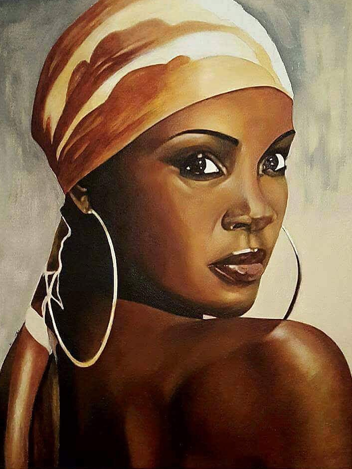 Because he was experimenting with acrylic paint, Cedric used a reference photo to create this painting because he really liked the skin tones of the model.
