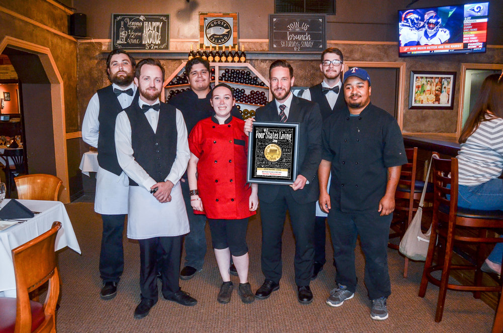 VERONA RESTAURANT – Dylan Payne, Billy Nielsen, Hector Jimenez, Jennifer Monaghan, Paul Baird, Jonathan Freeman and Christopher Isibor