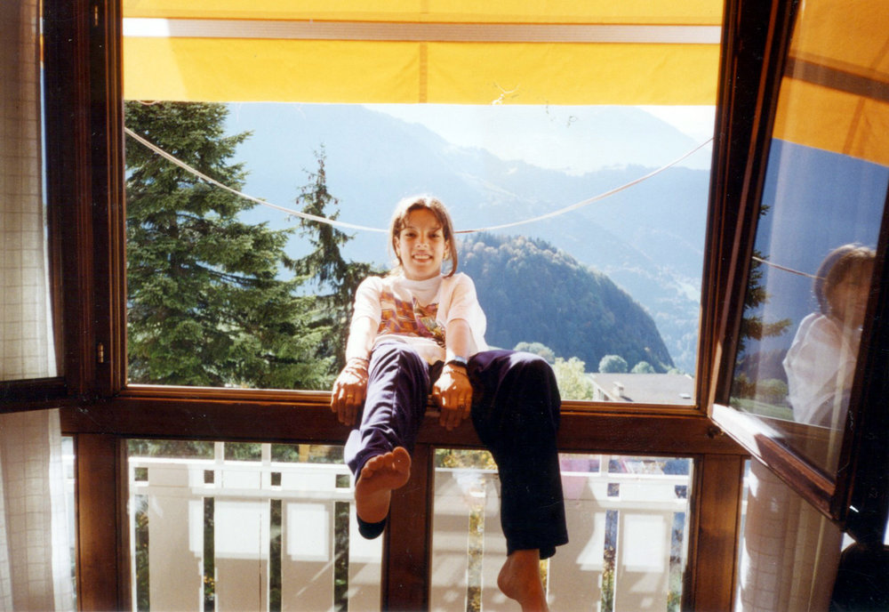 "^ Layla's boarding school in Leysin, Switzerland, was literally in the Alps. This photo was taken in 1998, and she lived there for three years, calling it ""the greatest adventure of my life."""