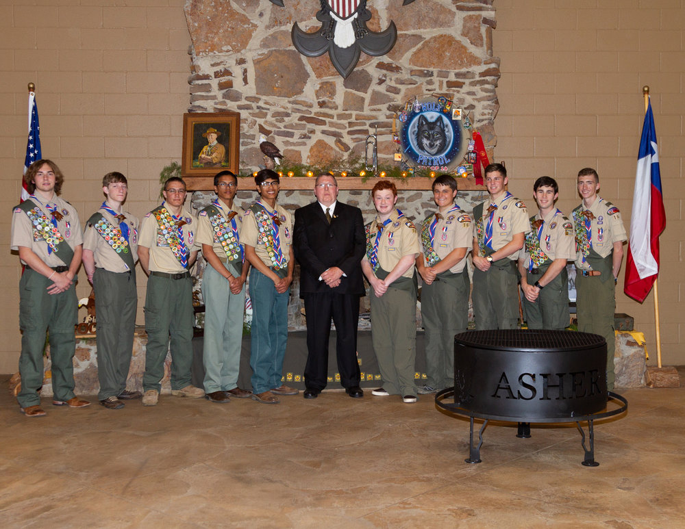 Cade Reed, Micah Collins, Bryce McNeely, Joseph Asher, Joshua Asher, Assistant Scoutmaster Mike Asher, Ryan Engstrom, Ethan Yost, Alex Cannon, Davis Miller and Rivers Edwards