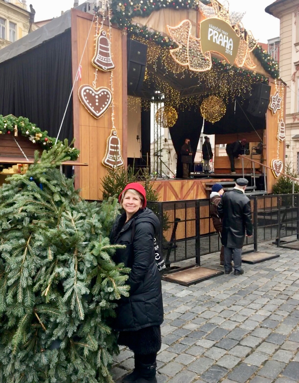 Agnes enjoying the holiday markets in Prague, the Czech Republic, during Thanksgiving 2016.