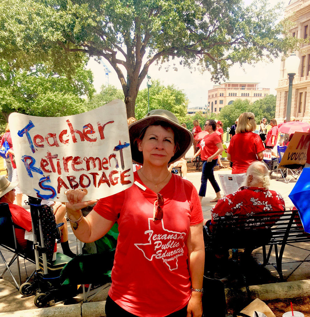 While in Austin, Texas, in July 2017, Agnes marched and advocated for active and retired teachers.