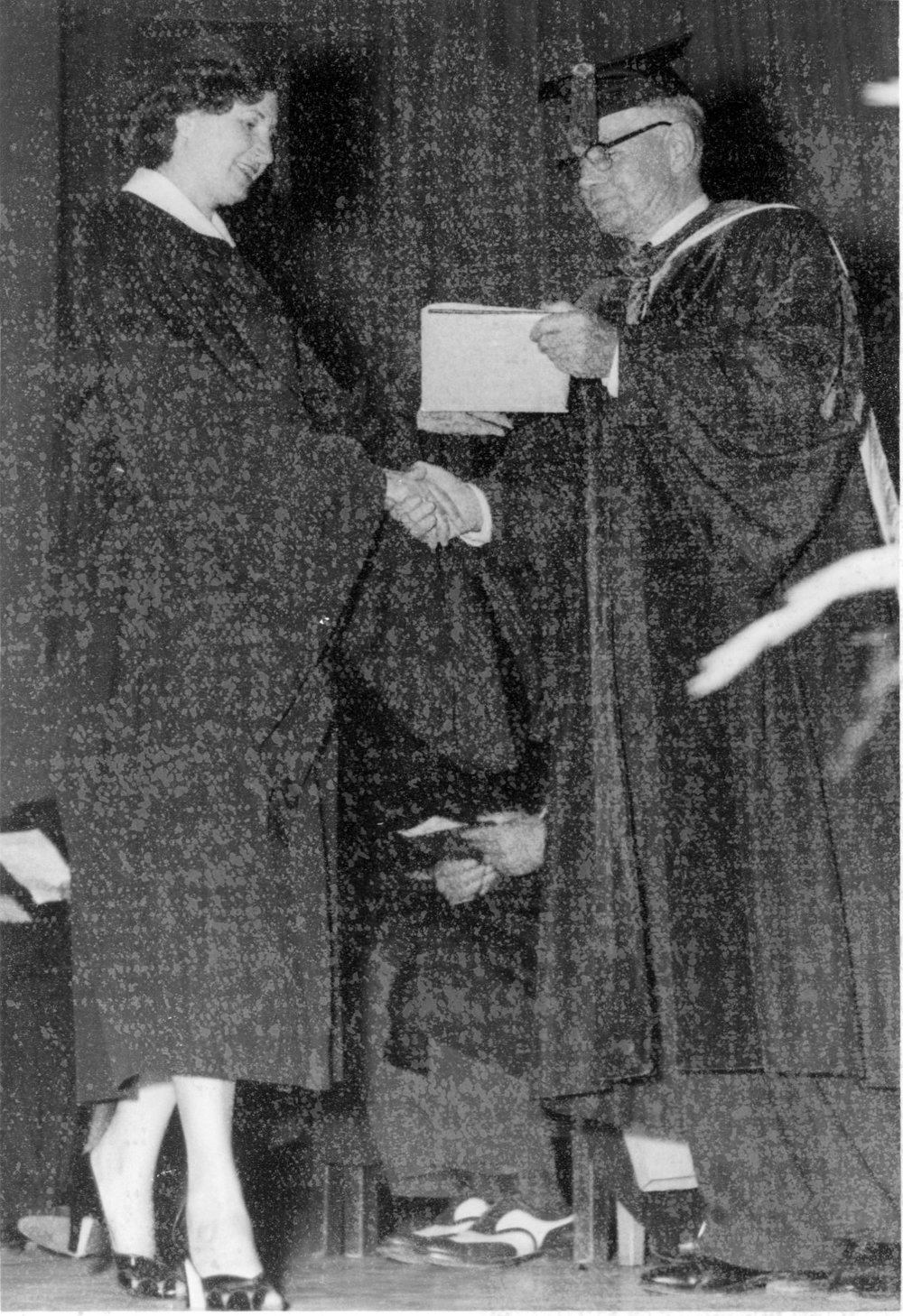 ^ In May 1953, Mildred received her bachelor's degree from Teachers College (now known as University of Central Arkansas) in Conway.