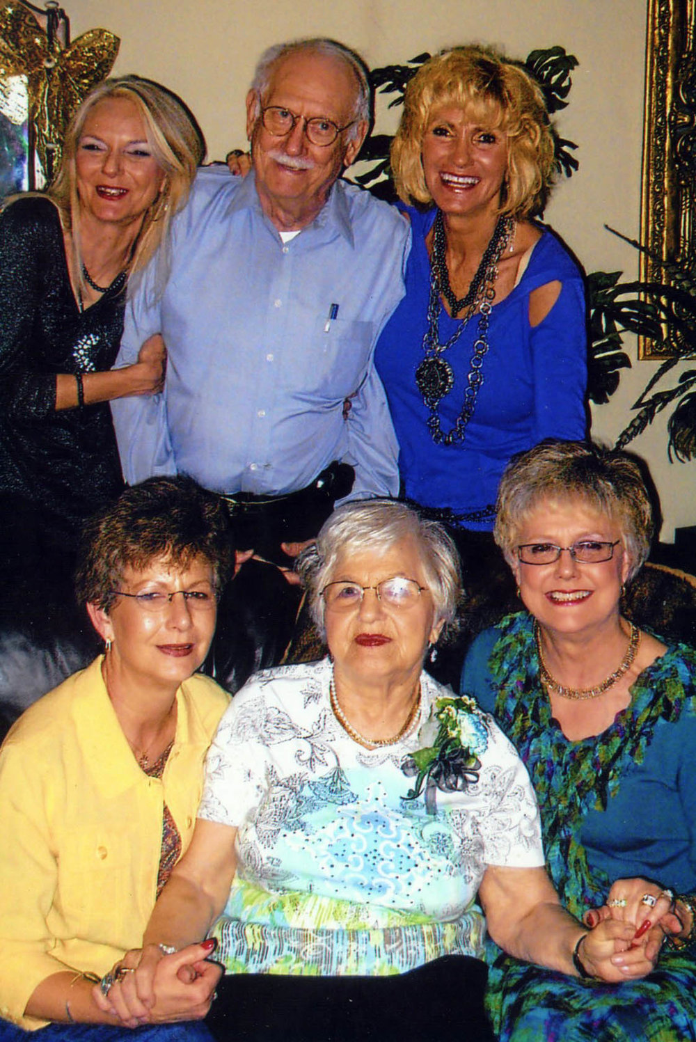 "Don and Lilly with their daughters in 2013 (top row) Carol ""Denice"" Hollier (youngest) and Donna Lynn Jeffus (next to youngest); and (bottom row) Mary ""Madelein"" McBride (oldest) and Adine ""Evelyn"" Pinkner (next to oldest)."