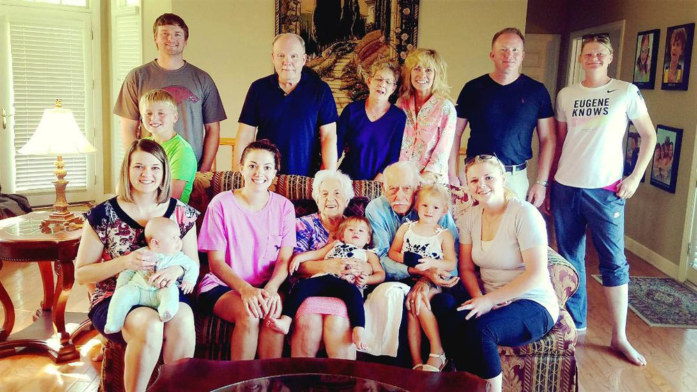 Spending time with family is very important to Don and Lilly. Here, they all enjoyed a family reunion in Hot Springs, Arkansas. Pictured are: (front row) Marianne McBride (granddaughter) holding Maddie McBride (great- granddaughter), Amber Runion (granddaughter), Lilly Preston holding Alayna Runion (great-granddaughter), Don Preston holding Adelynn Runion (great-granddaughter), and Amanda Buffington (granddaughter); (middle row, sitting on couch in green shirt) Tucker Runion (great-grandson); (back row) Danny Runion (grandson), Glenn McBride (son-in-law), Madelein McBride (daughter), Donna Jeffus (daughter), Jason McBride (grandson), and Christina Harrod (friend).