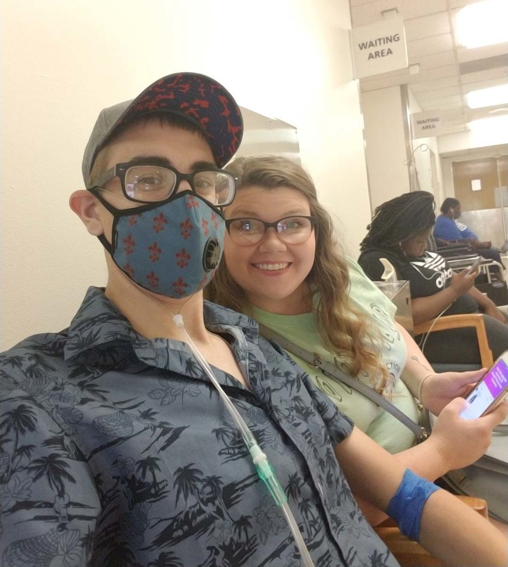 Chris and his wife, kimberly, at duke university hospital waiting to see doctor for part of his evaluation before his transplant.