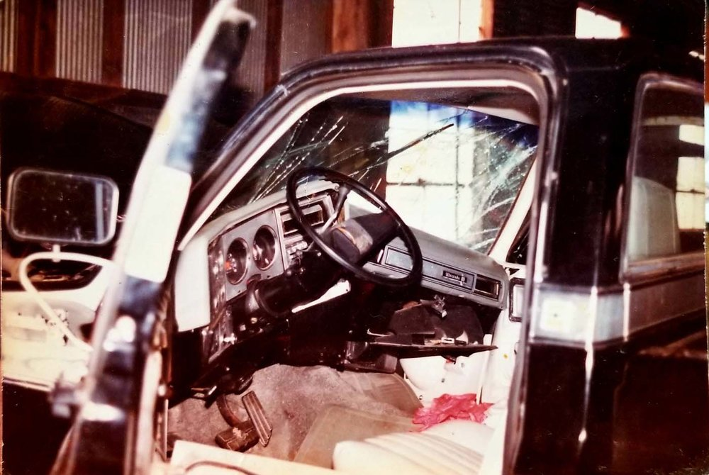 This photo was taken of the truck Manford and his cousins were in when they had their accident on December 6, 1987. By looking at the dashboard, it is obvious that the truck took a very hard impact on the passenger side, where Manford was sitting.