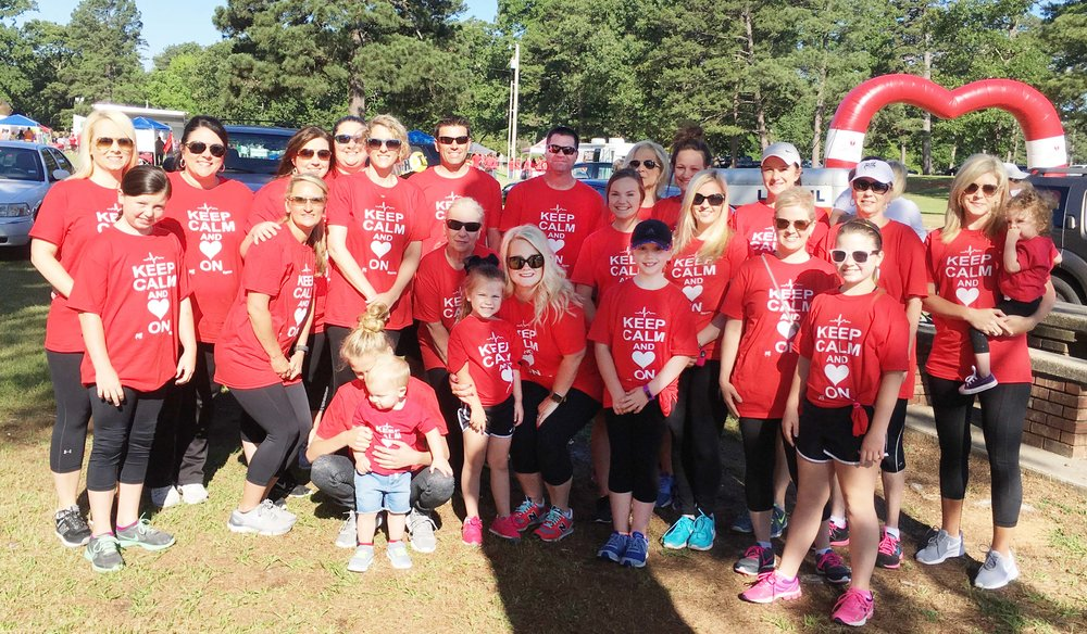 Katie and her team during the 2017 Texarkana Heart Walk, where they won an award for the most money raised by an individual.