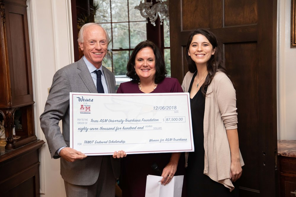 Scott Bruner, TAMUT Foundation Board; Virginia Trammell, Women for A&M-Texarkana; and Courtney Lebrun, student and scholarship recipient
