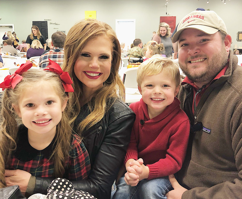 The Johnson family foursome celebrating Thanksgiving lunch on November 16, 2018, at Whit's school, The Training Station.
