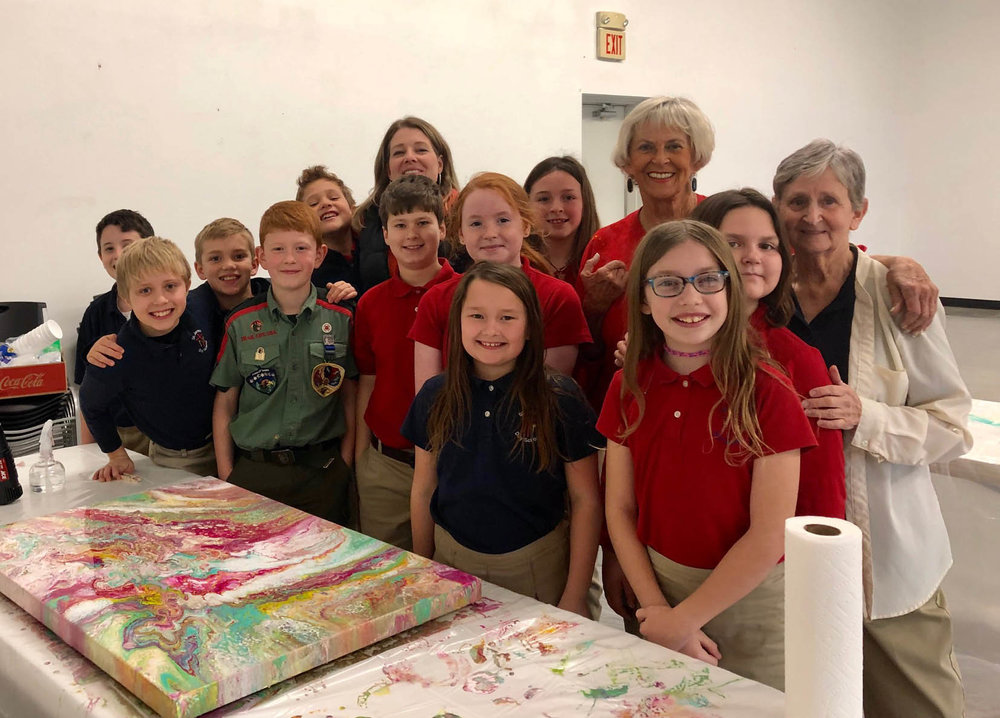 In January, Mary Jane helped Mrs. Wagy's fourth grade class at St. James Day School with their Grandparents Day project.