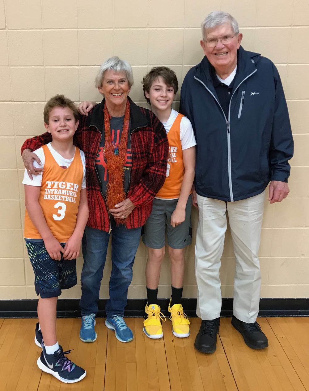 This past January, Mary Jane and David congratulated grandsons, Adam and Alex, after playing in their basketball games at Texas Middle School.