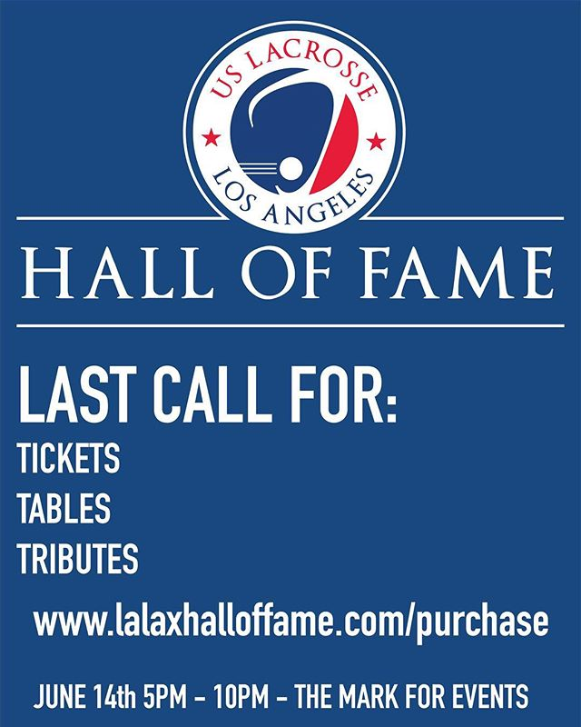 8 DAYS AWAY! Don't forget to get your tickets, make a donation, or purchase an add for the tribute book. There are so many ways to get involved with this year's Hall of Fame dinner, even if you cannot attend. Link to the website is in our bio, and a schedule for the night will be posted later this week so stay tuned! . . . #halloffame #usl #hof #uslacrosse #losangeles #socal #socallax #notredame #kevincorrigan #guestspeaker