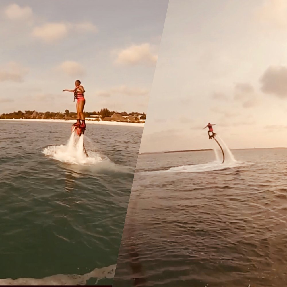 Flyboarding at Kendwa Beach, Zanzibar