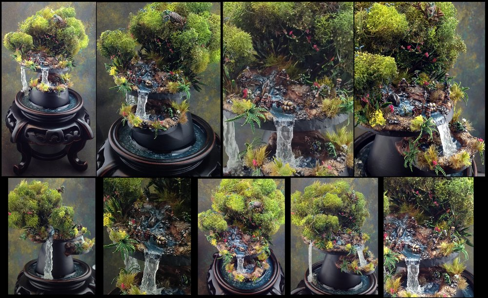My worldwide award-winning 6mm diorama featuring two waterfalls and living plants.