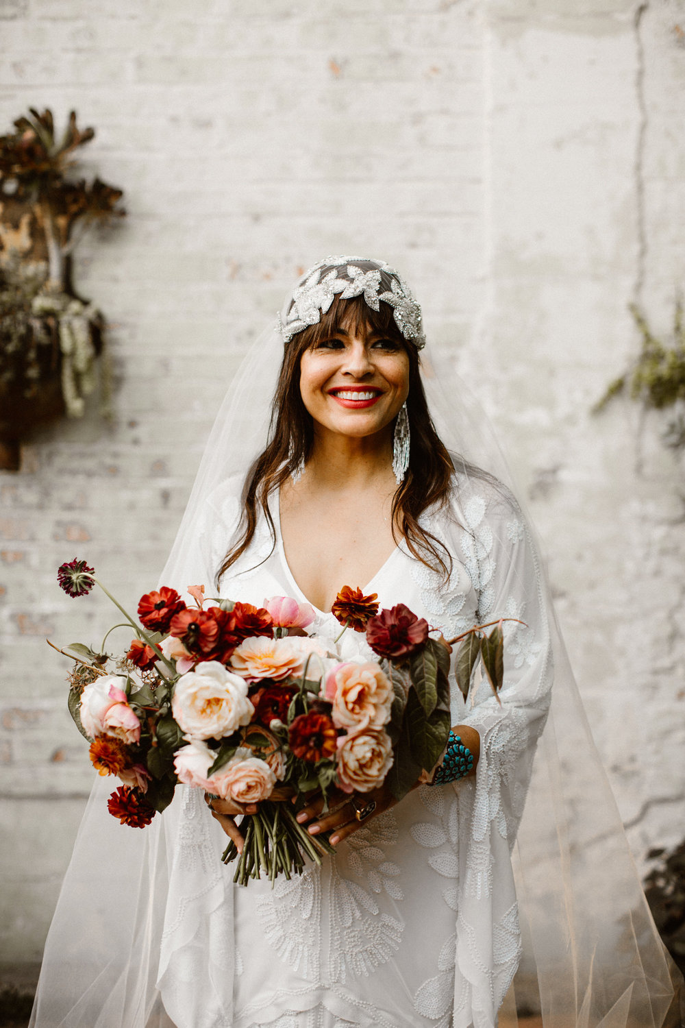 Real Bride wearing Untamed Petals Berlin Cap veil