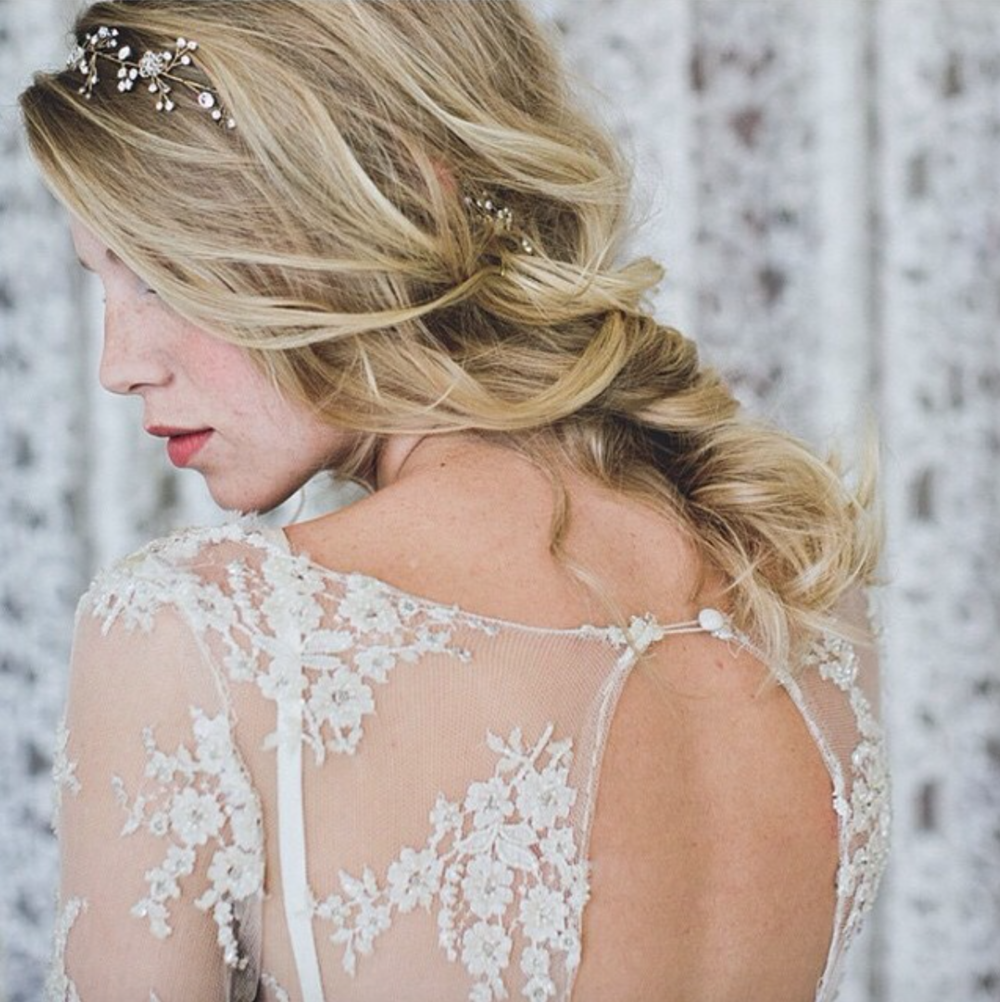 Wear a bridal hair vine as a headband