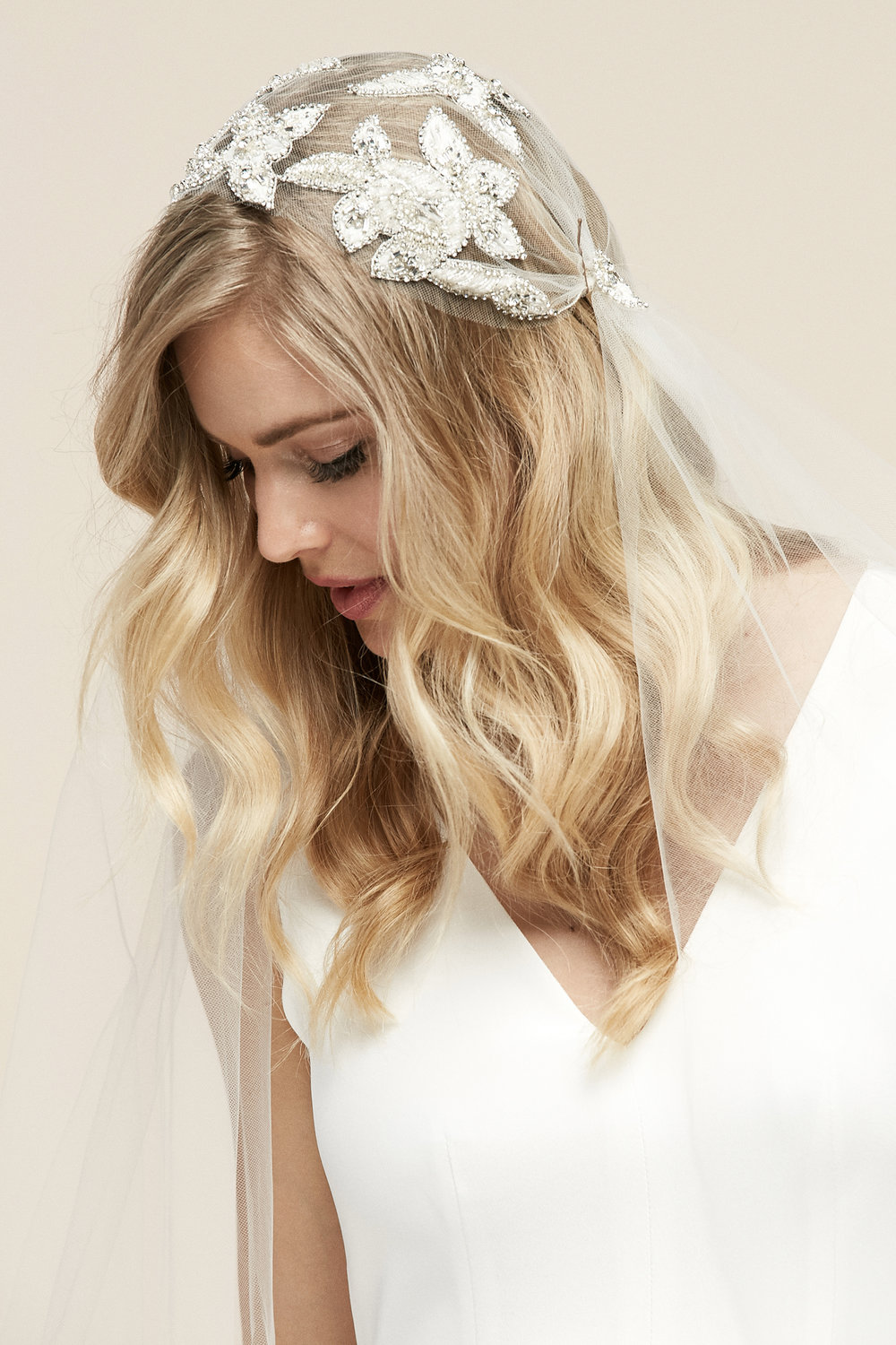Berlin Cap Veil   Details- Floral applique beaded Juliet cap veil  Cathedral only- $678
