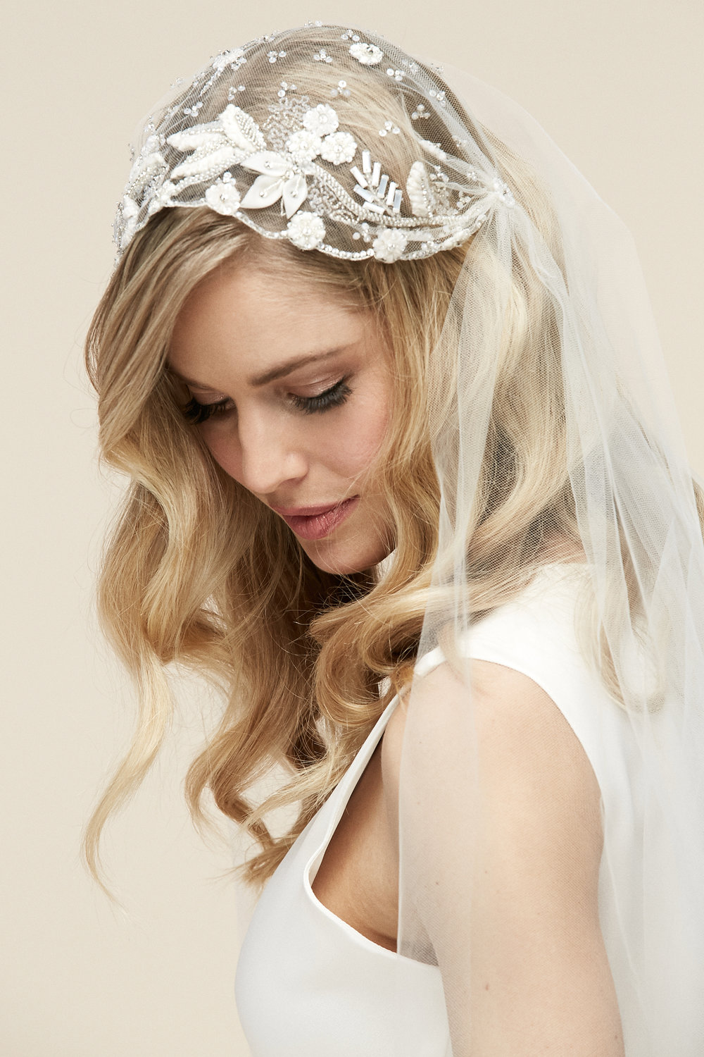 Asia Cap Veil   Details- Beaded Juliet cap veil  Cathedral only $598