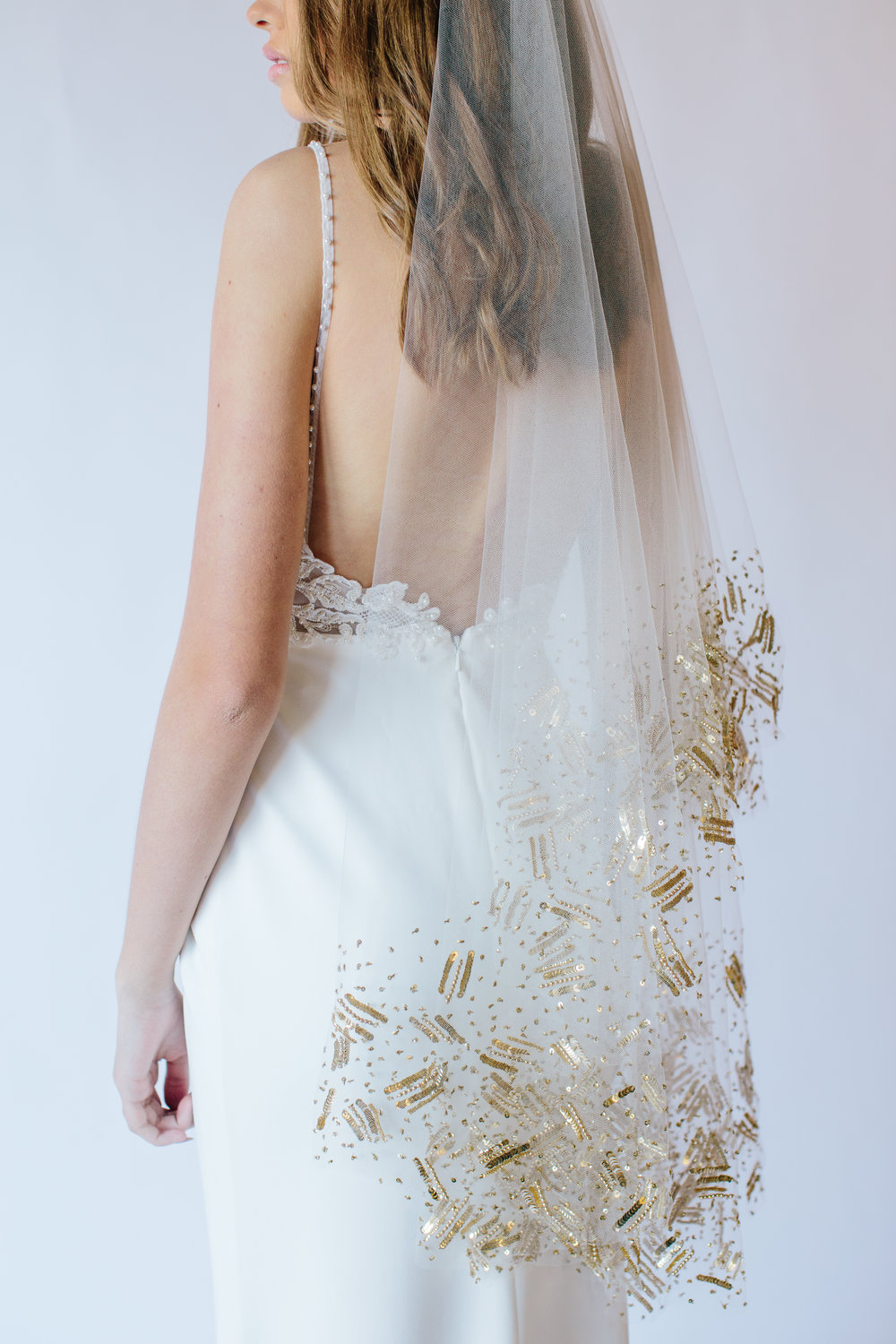 Galaxy Veil    Details- head beaded burst sequin layout  Available in gold or silver