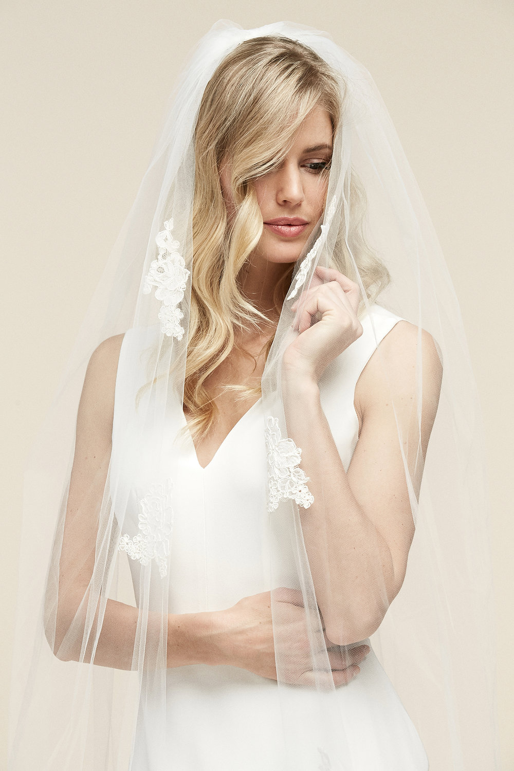 Lyric Veil   Details- Alençon lace scattered throughout  Available in all colors and lengths