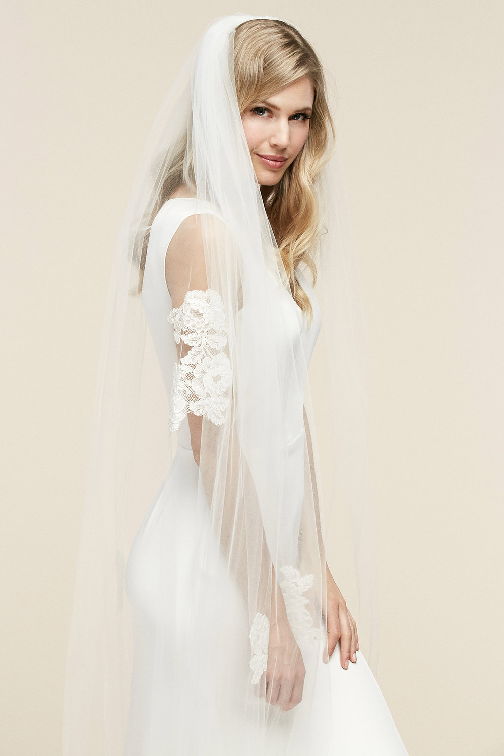Josie Veil   Details- One tier with scattered Alencon lace detailing all over veil  Cathedral $1,058 - Fingertip $678 - Floor $858