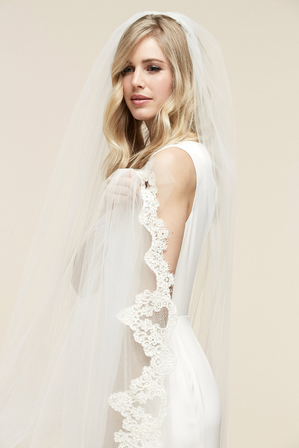 Forever Veil   Details- One tier with graduated Alencon lace detailing at the bottom of edge  Cathedral $1,278 - Chapel $1,200
