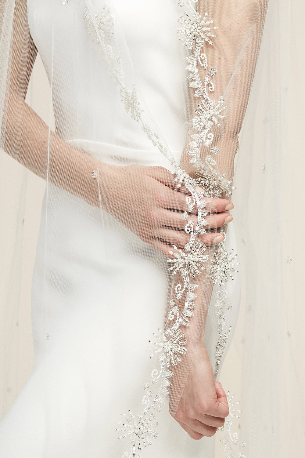 India Veil   Details: Pearl and rhinestone beading  Cathedral, Ivory only - $3,078