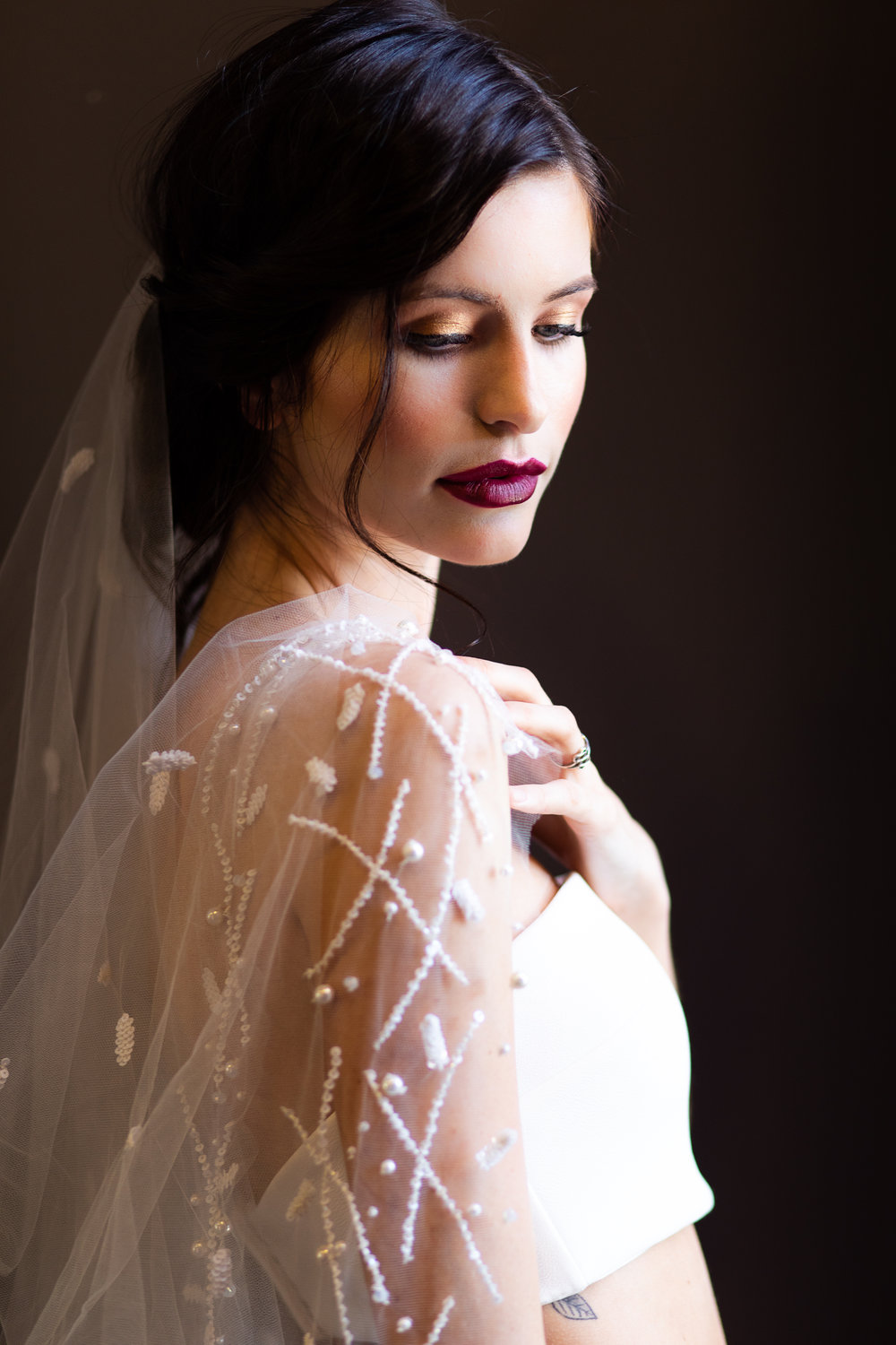 Enchanting Veil   Details: Circle cut veil with lightly sprinkles white beading and pearl flecked boarder  Cathedral $1,038 - Waltz $898