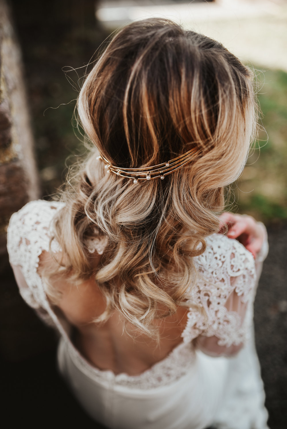 wedding hair style with accessory