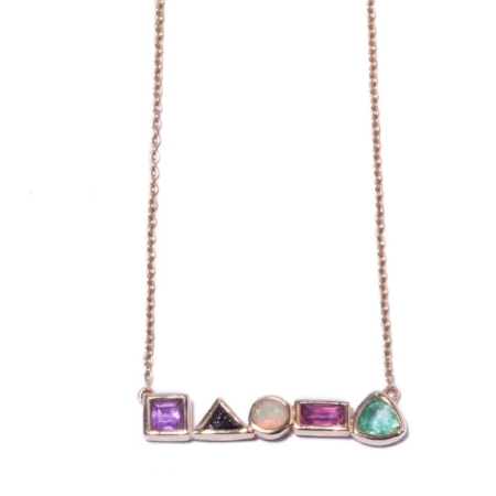 Amethyst, Diamond, Opal, Ruby and Emerald necklace, £550 by i+i