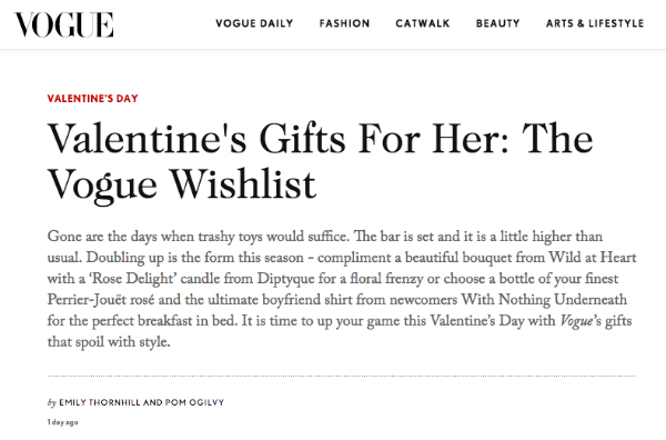 Valentines Gift's for Her: The Vogue Wishlist