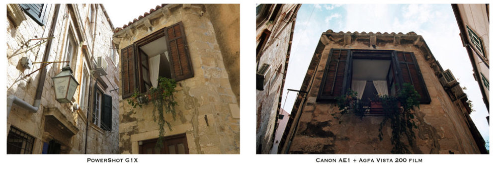 The same scene in Croatia, captured by a higher end digital point and shoot (left) and student model film SLR (right) cameras