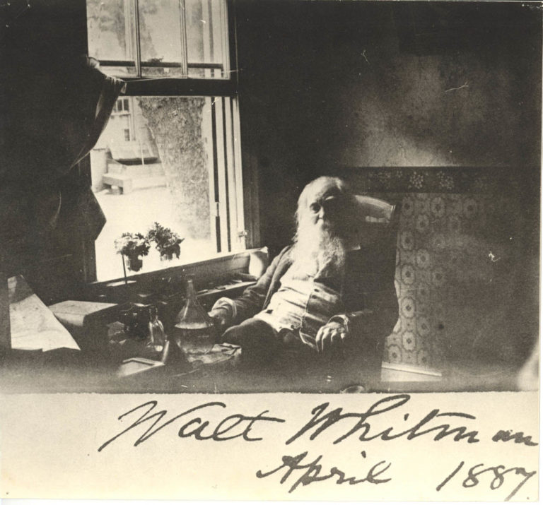 Whitman in the sitting room of his home, age 68. Photo courtesy of the Alderman Library, University of Virginia.