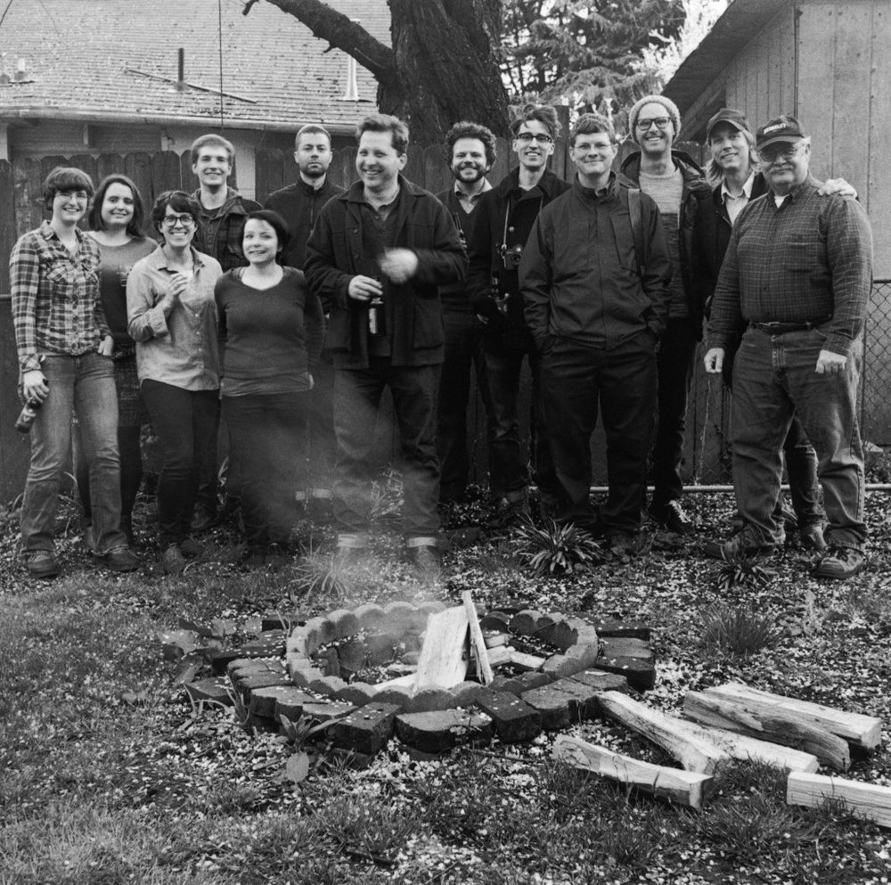 The current and past staff gather for a family cookout. November, 2013