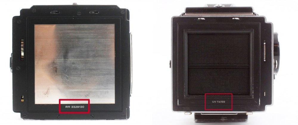 Serial number locations on a Hasselblad back (left) and body (right).