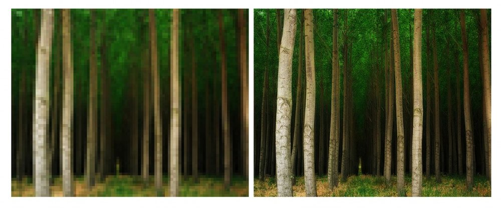 Both images are sized to the same length and width but at different resolutions.